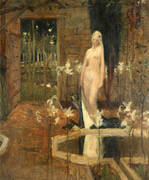 Robinson, Frederick Cayley, 1862-1927; Female Nude in a Garden