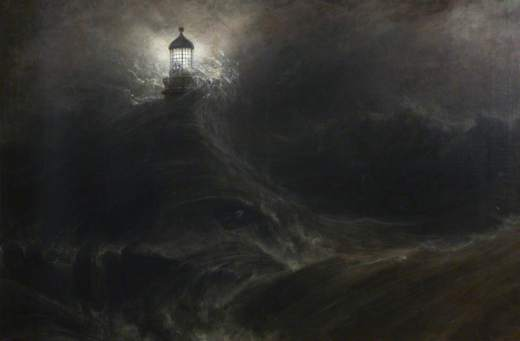 Daniell, William, 1769-1837; Eddystone Lighthouse, During a Storm