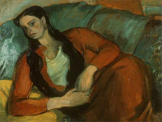 Hancock, Kenneth W., 1911-1978; Girl in Red on a Sofa