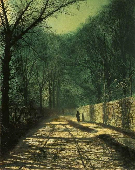 Grimshaw, John Atkinson, 1836-1893; Tree Shadows on the Park Wall, Roundhay, Leeds