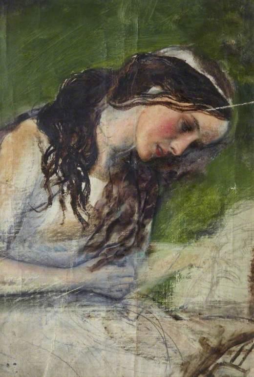 Hughes, Arthur, 1832-1915; Study of a Head for 'La belle dame sans merci'